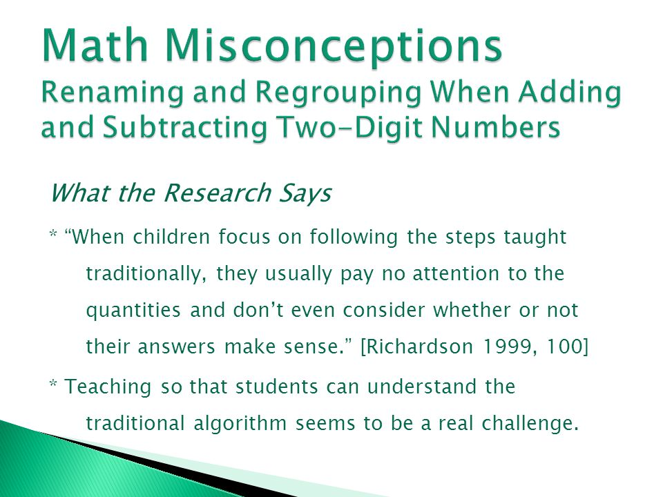 Math Misconceptions Renaming and Regrouping When Adding and Subtracting Two-Digit Numbers