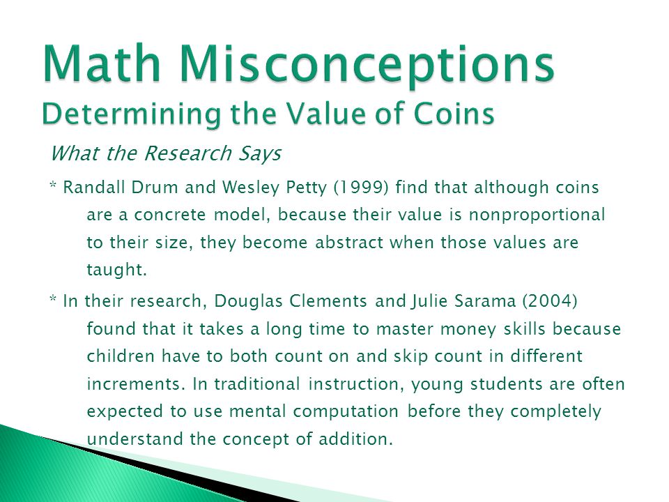 Math Misconceptions Determining the Value of Coins