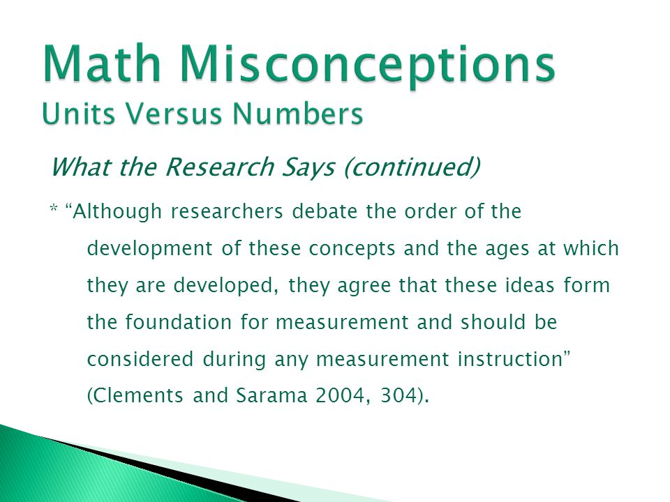 Math Misconceptions Units Versus Numbers