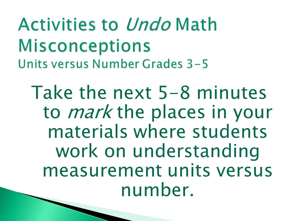 Activities to Undo Math Misconceptions Units versus Number Grades 3-5