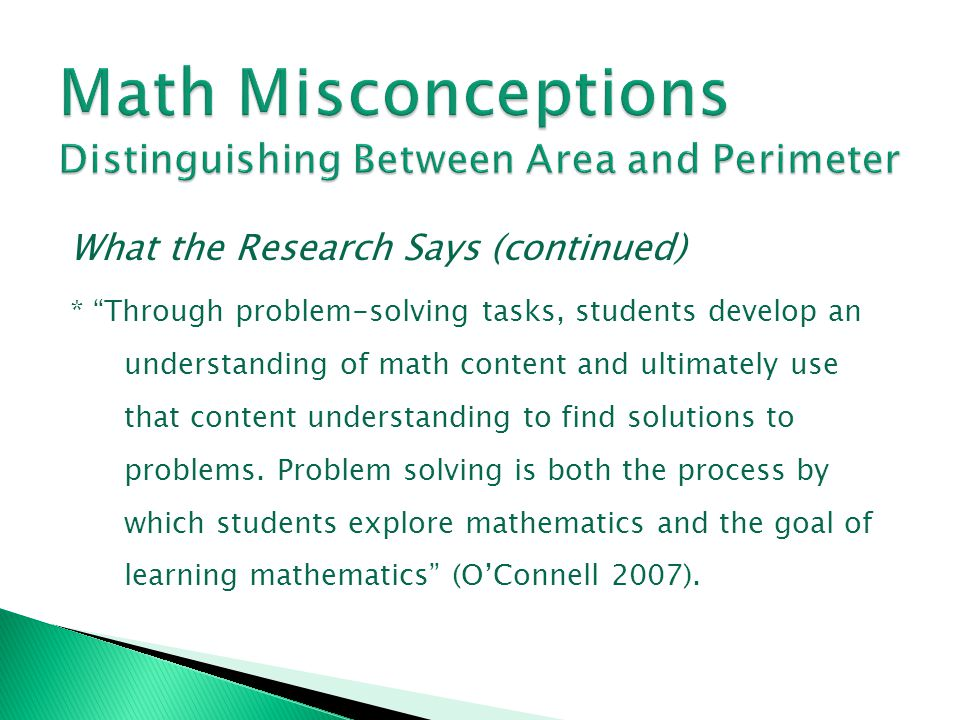 Math Misconceptions Distinguishing Between Area and Perimeter