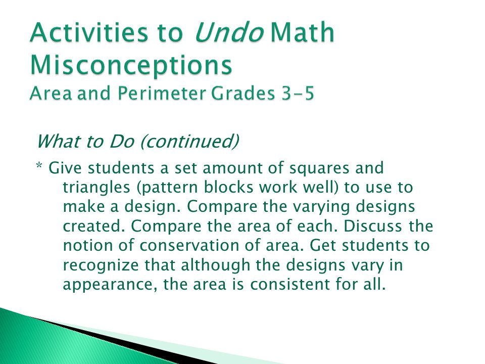 Activities to Undo Math Misconceptions Area and Perimeter Grades 3-5