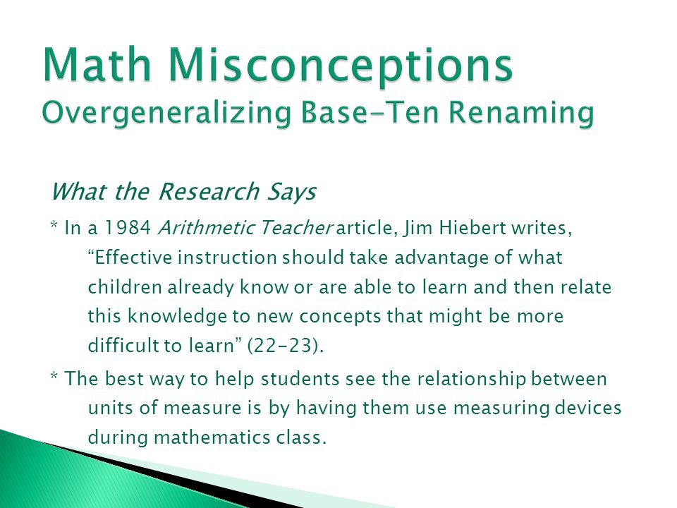Math Misconceptions Overgeneralizing Base-Ten Renaming