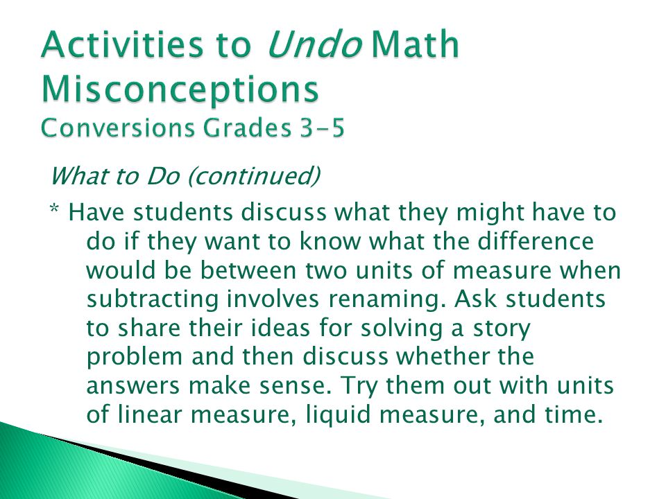 Activities to Undo Math Misconceptions Conversions Grades 3-5