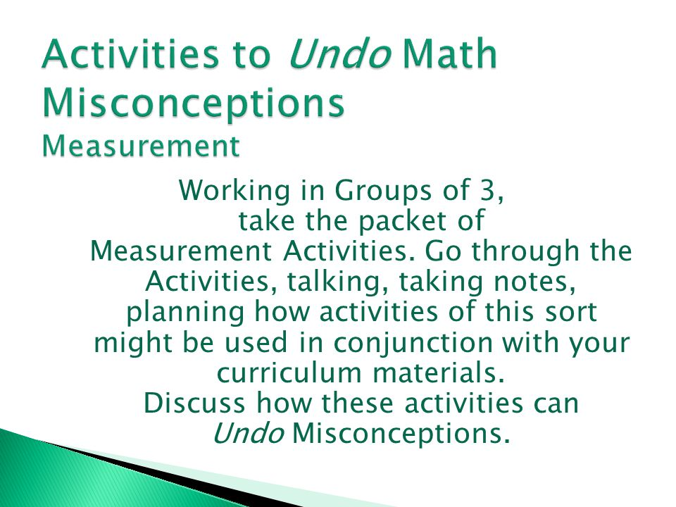 Activities to Undo Math Misconceptions Measurement
