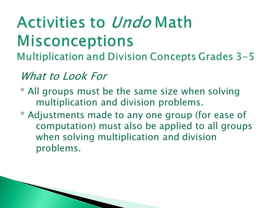 Activities to Undo Math Misconceptions Multiplication and Division Concepts Grades 3-5