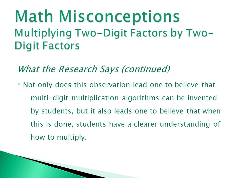 Math Misconceptions Multiplying Two-Digit Factors by Two-Digit Factors