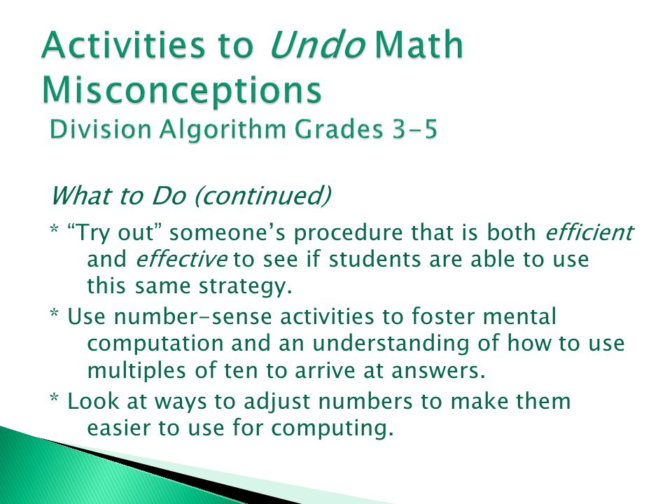 Activities to Undo Math Misconceptions Division Algorithm Grades 3-5