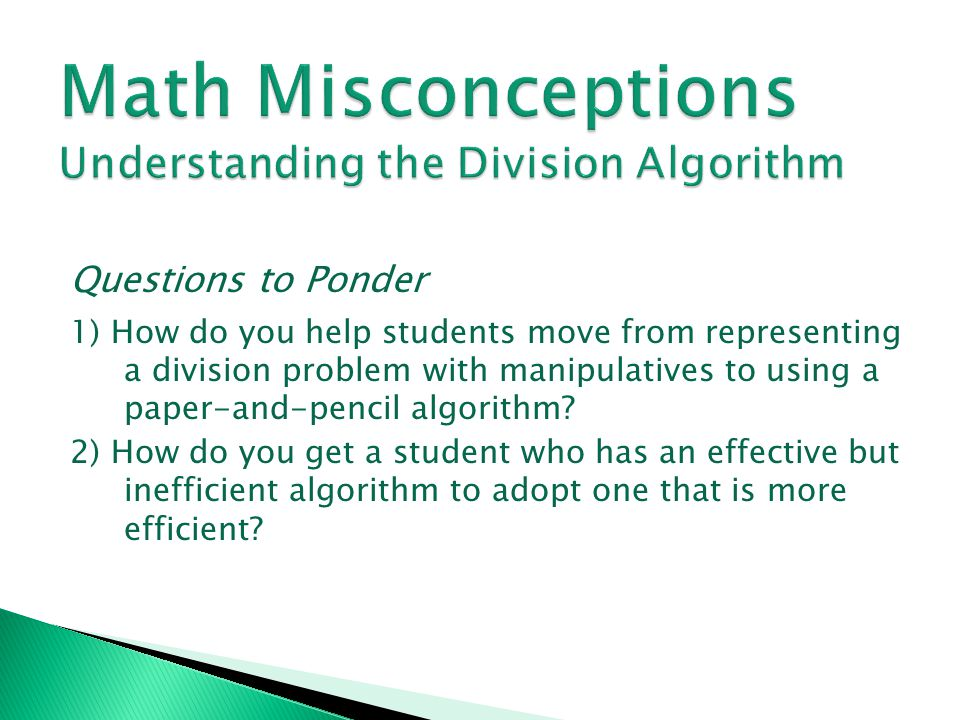 Math Misconceptions Understanding the Division Algorithm