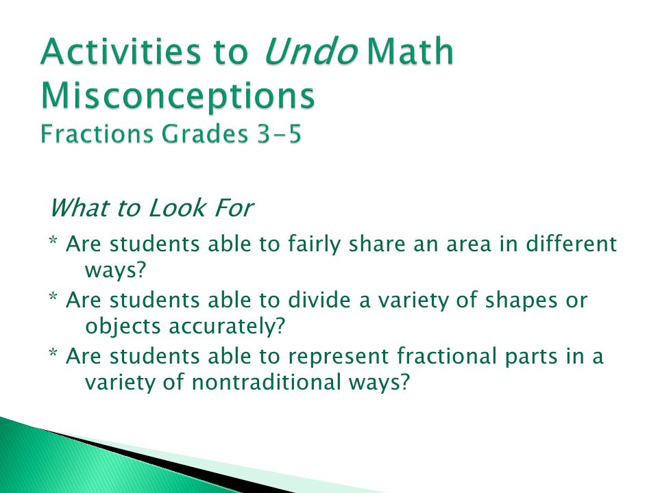 Activities to Undo Math Misconceptions Fractions Grades 3-5