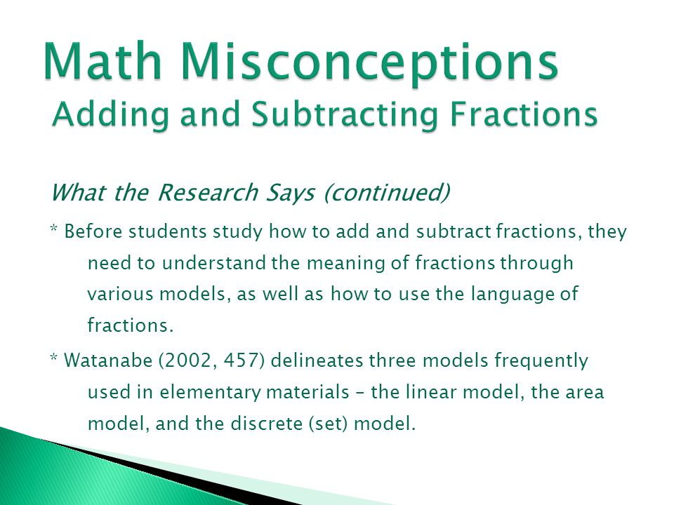 Math Misconceptions Adding and Subtracting Fractions