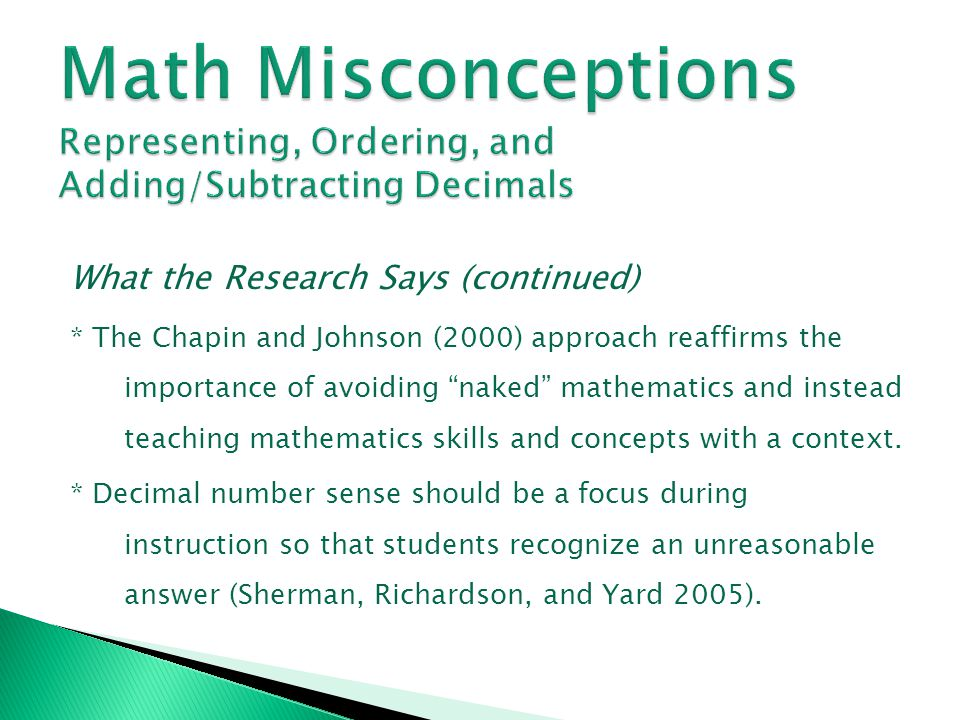 Math Misconceptions Representing, Ordering, and Adding/Subtracting Decimals
