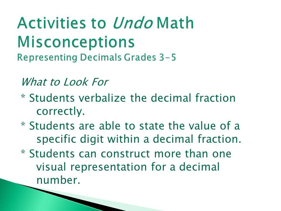 Activities to Undo Math Misconceptions Representing Decimals Grades 3-5