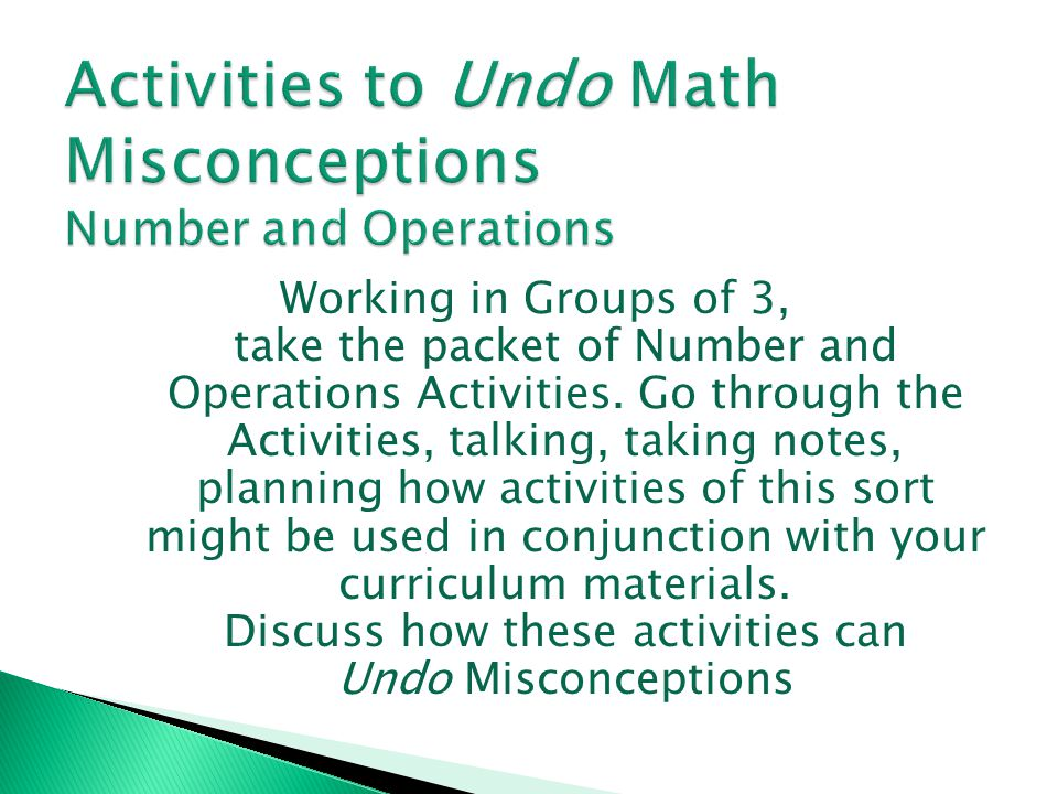 Activities to Undo Math Misconceptions Number and Operations