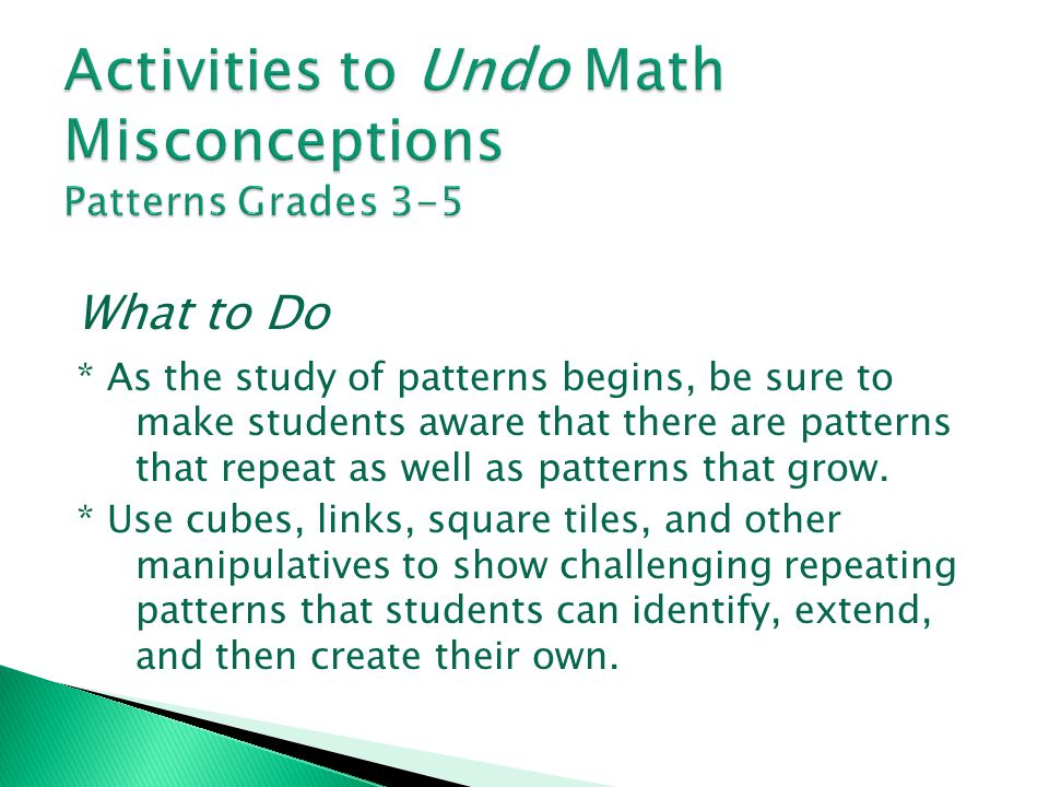 Activities to Undo Math Misconceptions Patterns Grades 3-5