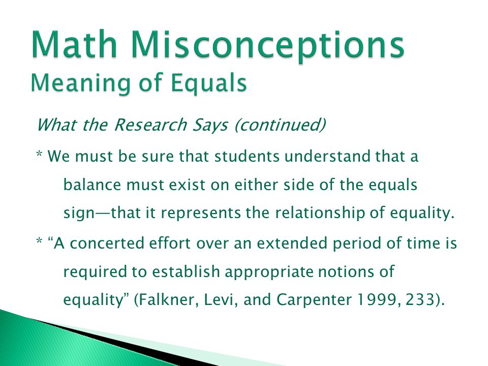 Math Misconceptions Meaning of Equals