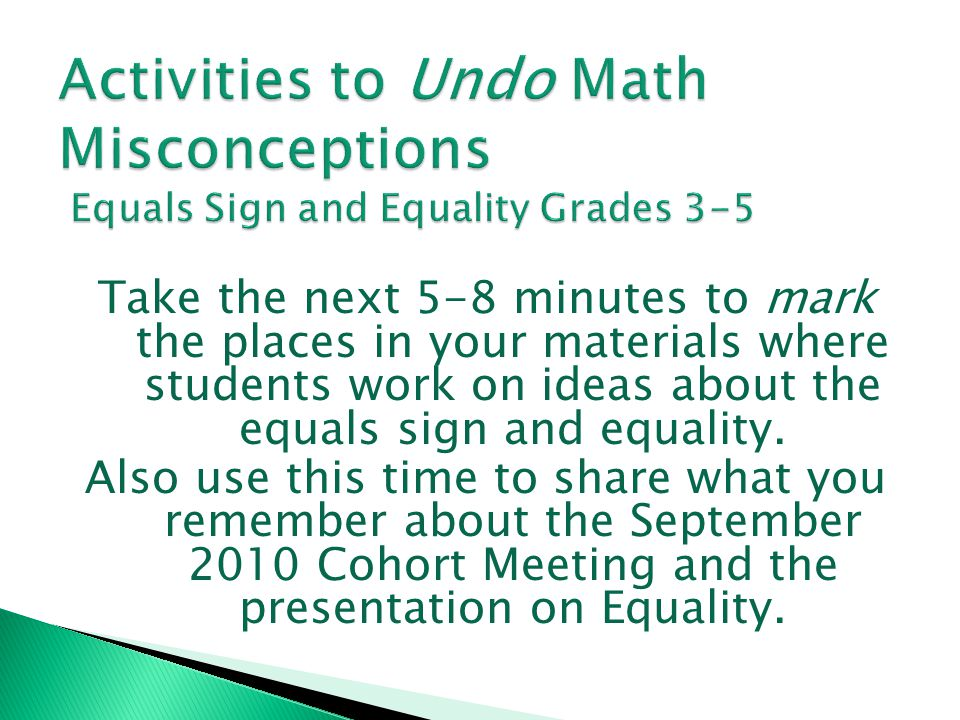 Activities to Undo Math Misconceptions Equals Sign and Equality Grades 3-5