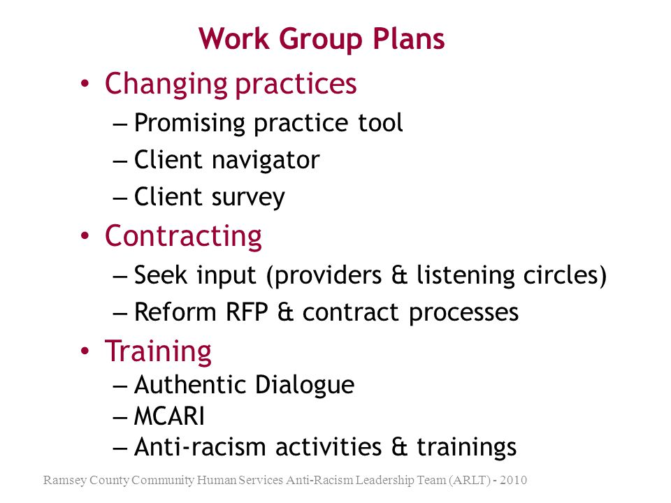 Work Group Plans Changing practices Contracting Training