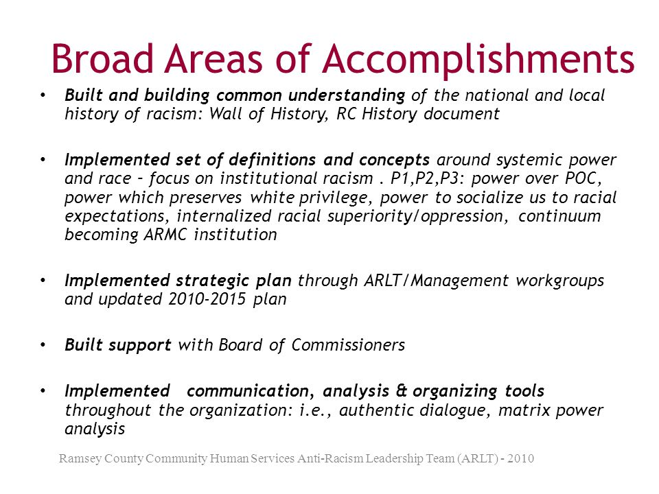Broad Areas of Accomplishments