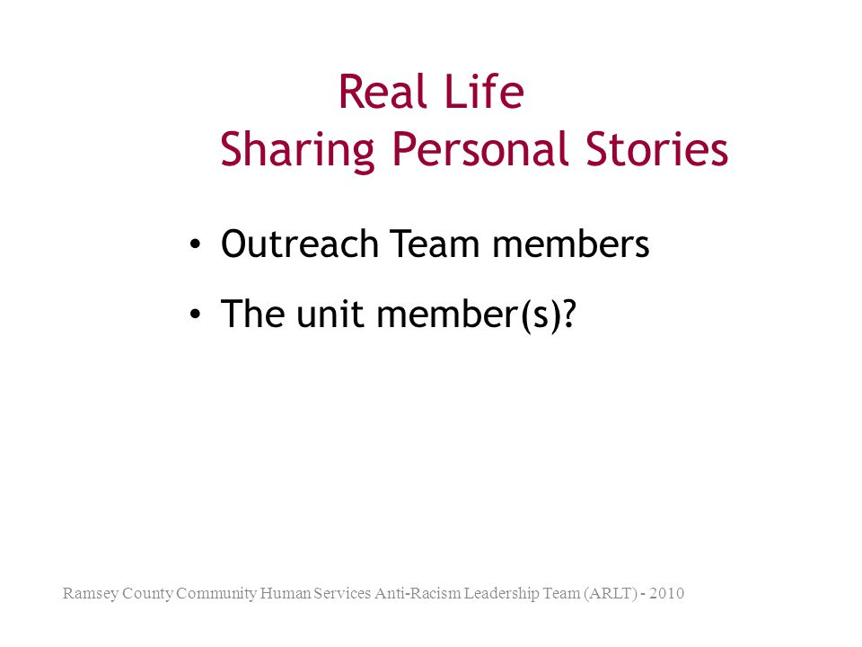Real Life Sharing Personal Stories