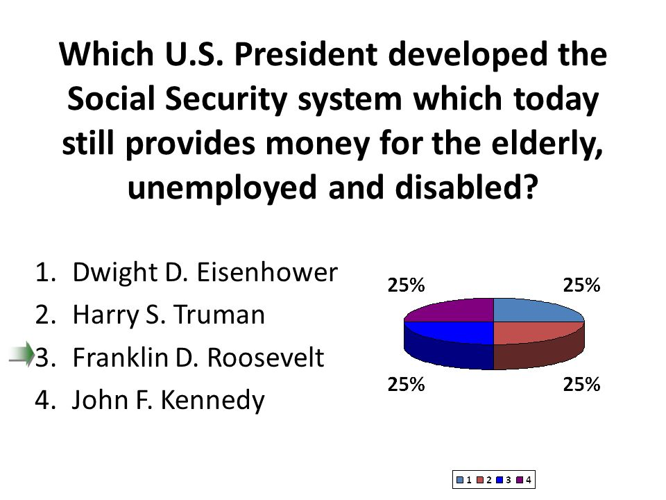 Which U.S. President developed the Social Security system which today still provides money for the elderly, unemployed and disabled