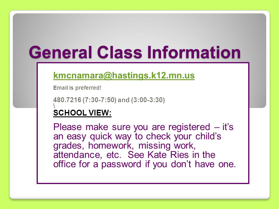 General Class Information