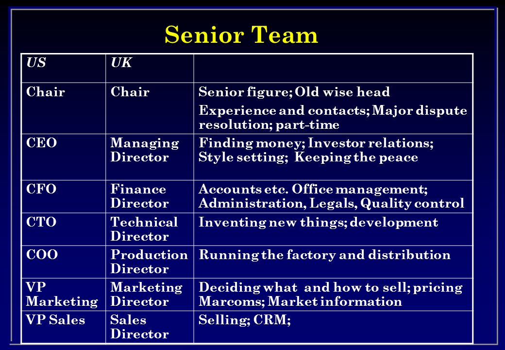 Senior Team US UK Chair Senior figure; Old wise head