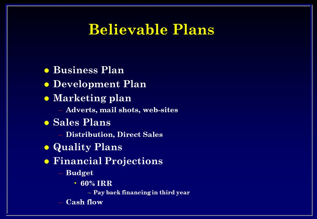 Believable Plans Business Plan Development Plan Marketing plan