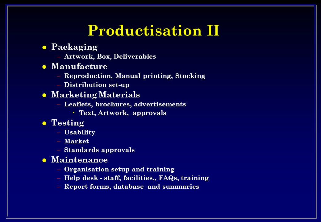 Productisation II Packaging Manufacture Marketing Materials Testing