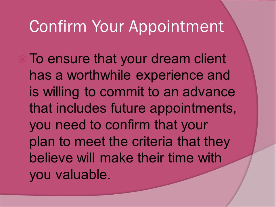Confirm Your Appointment