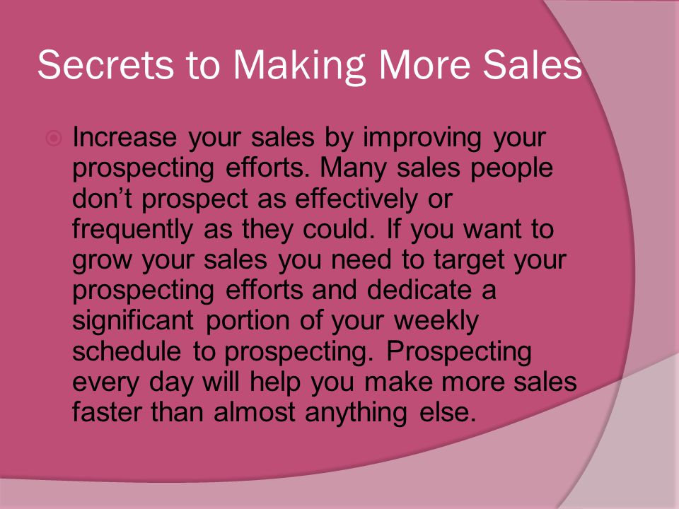 Secrets to Making More Sales