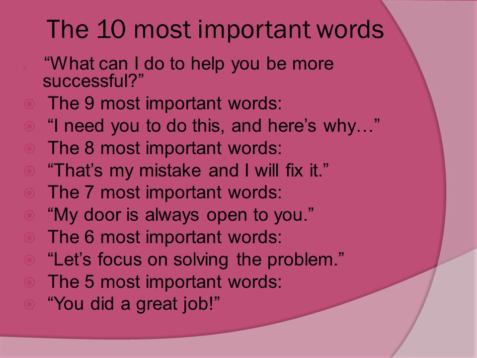 The 10 most important words