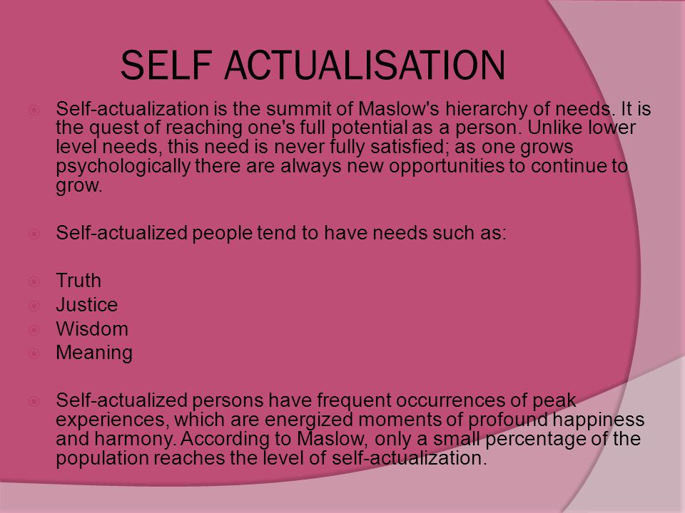SELF ACTUALISATION