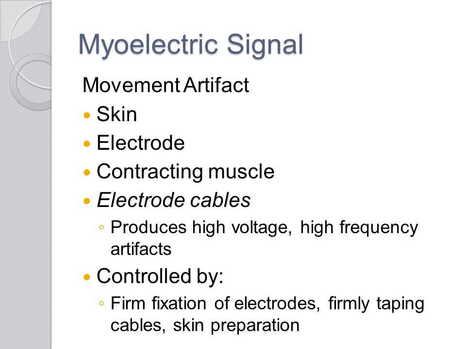Myoelectric Signal Movement Artifact Skin Electrode Contracting muscle