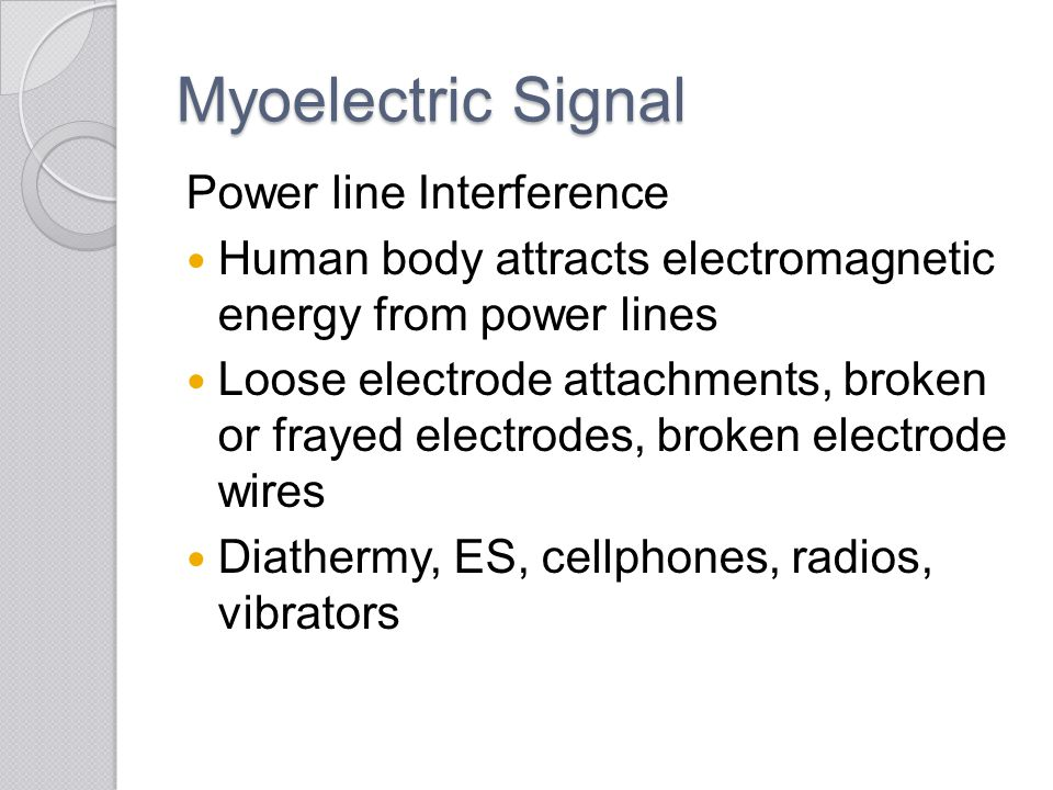 Myoelectric Signal Power line Interference