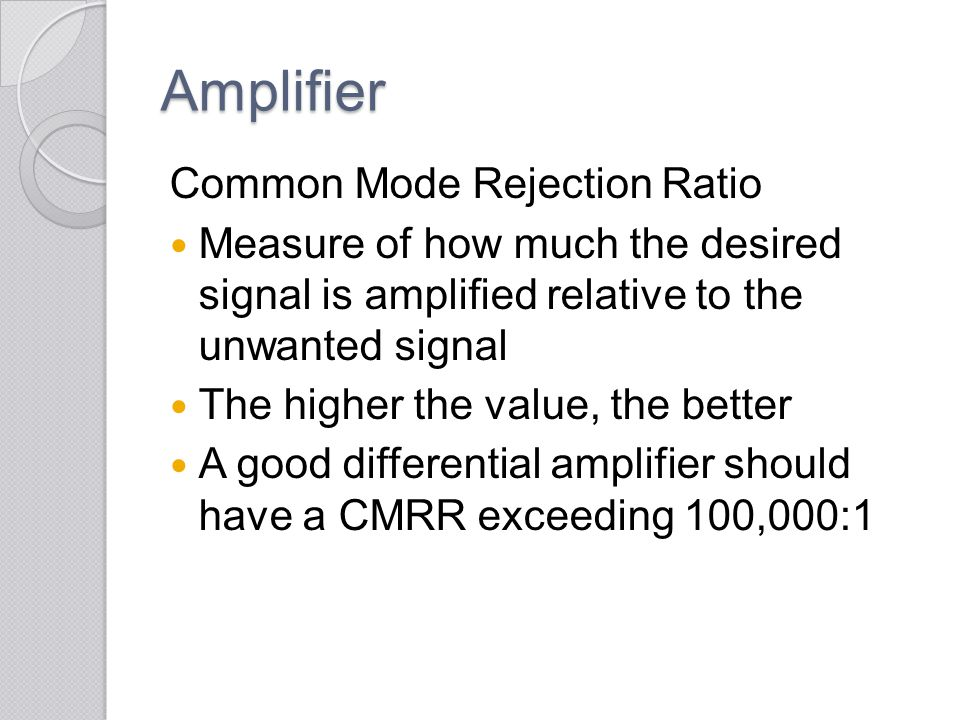 Amplifier Common Mode Rejection Ratio