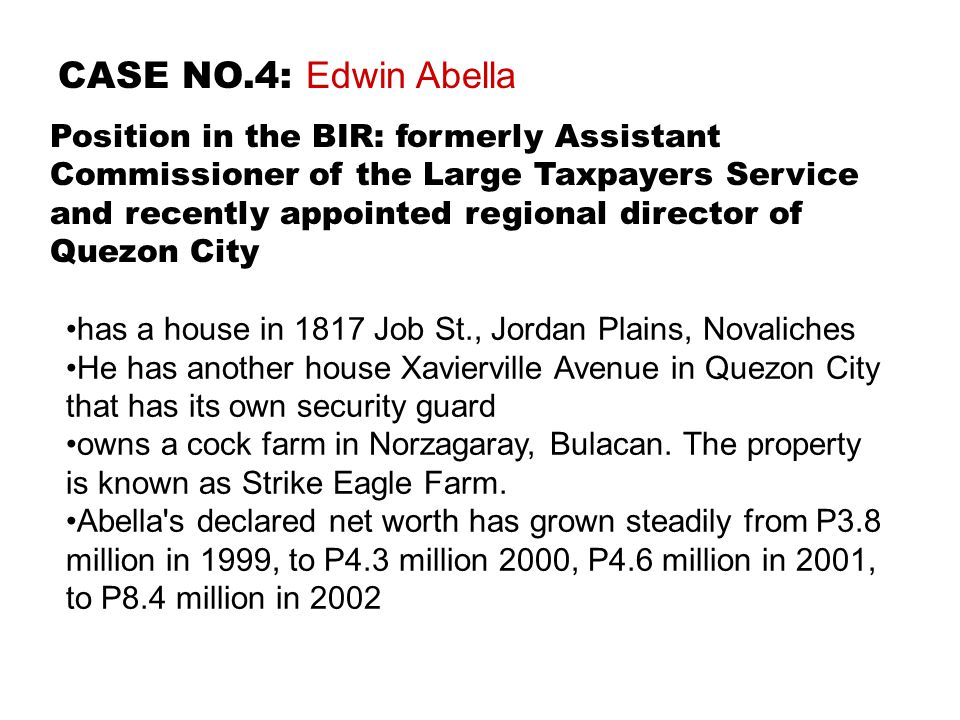 CASE NO.4: Edwin Abella