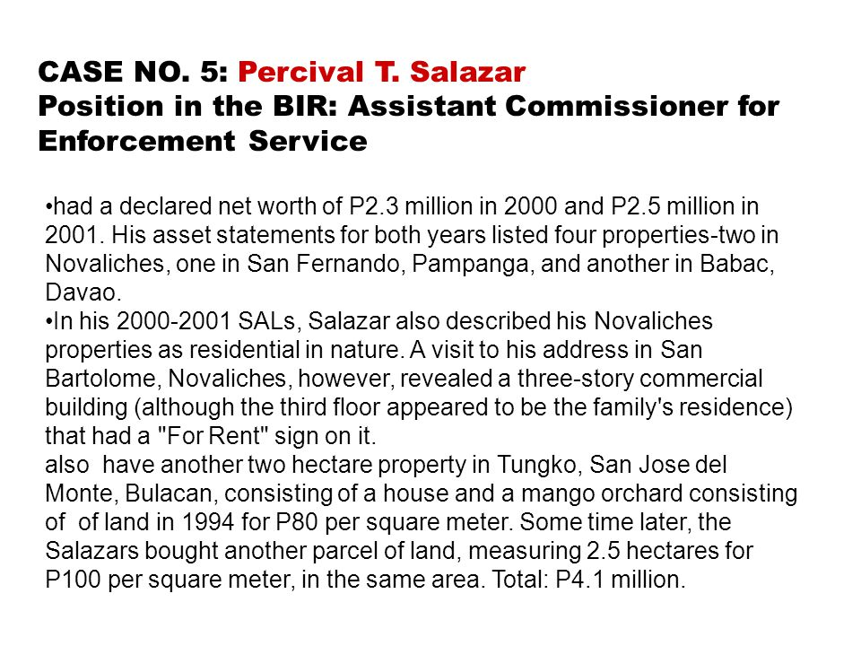 CASE NO. 5: Percival T. Salazar