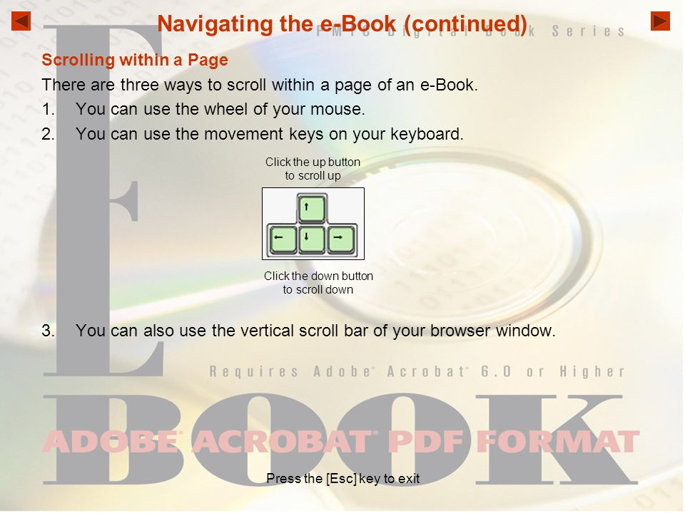 Navigating the e-Book (continued)
