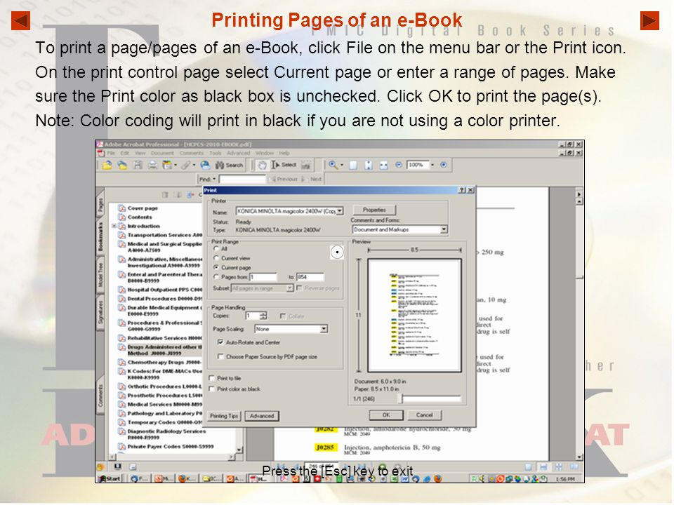 Printing Pages of an e-Book