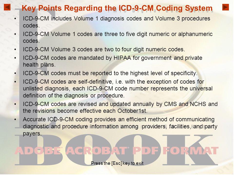 Key Points Regarding the ICD-9-CM Coding System