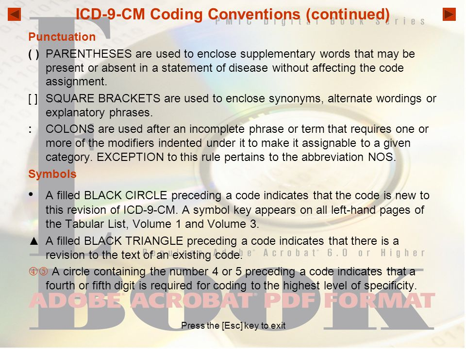 ICD-9-CM Coding Conventions (continued)