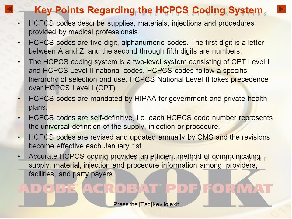 Key Points Regarding the HCPCS Coding System