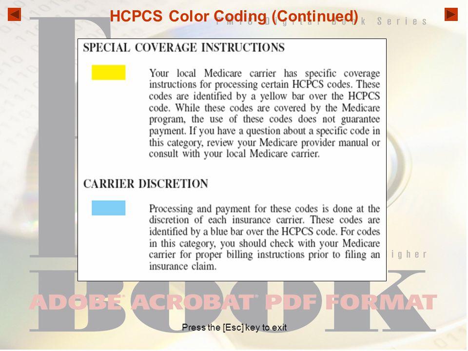 HCPCS Color Coding (Continued)