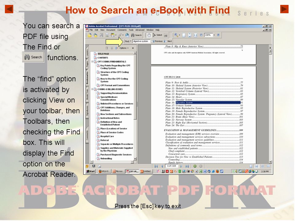 How to Search an e-Book with Find