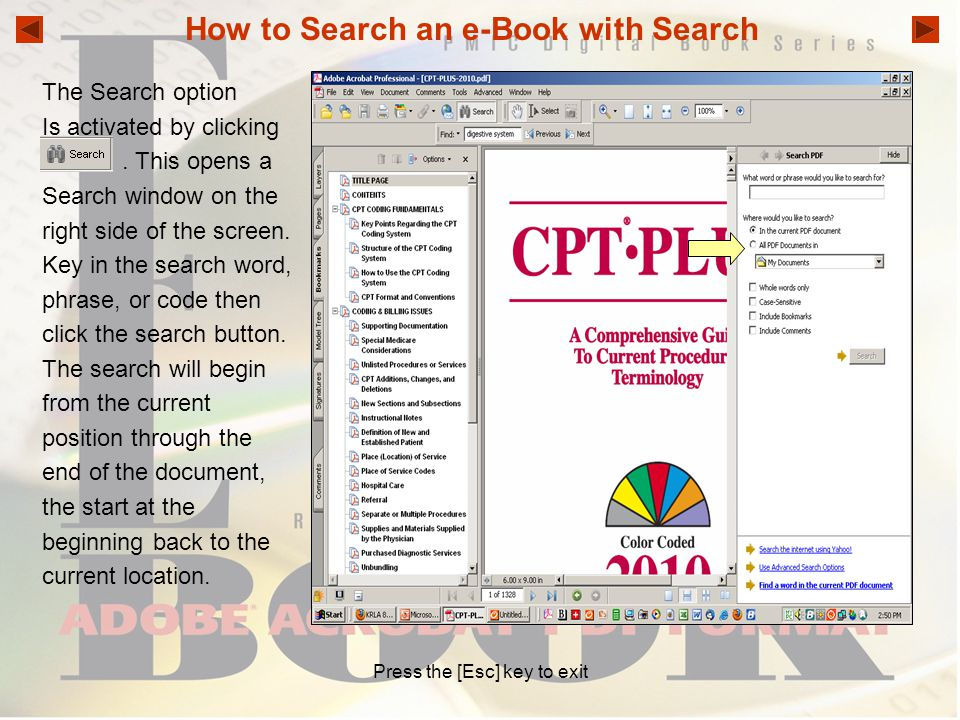 How to Search an e-Book with Search
