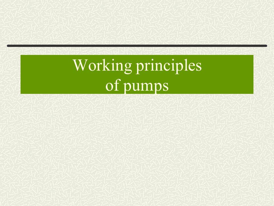 Working principles of pumps