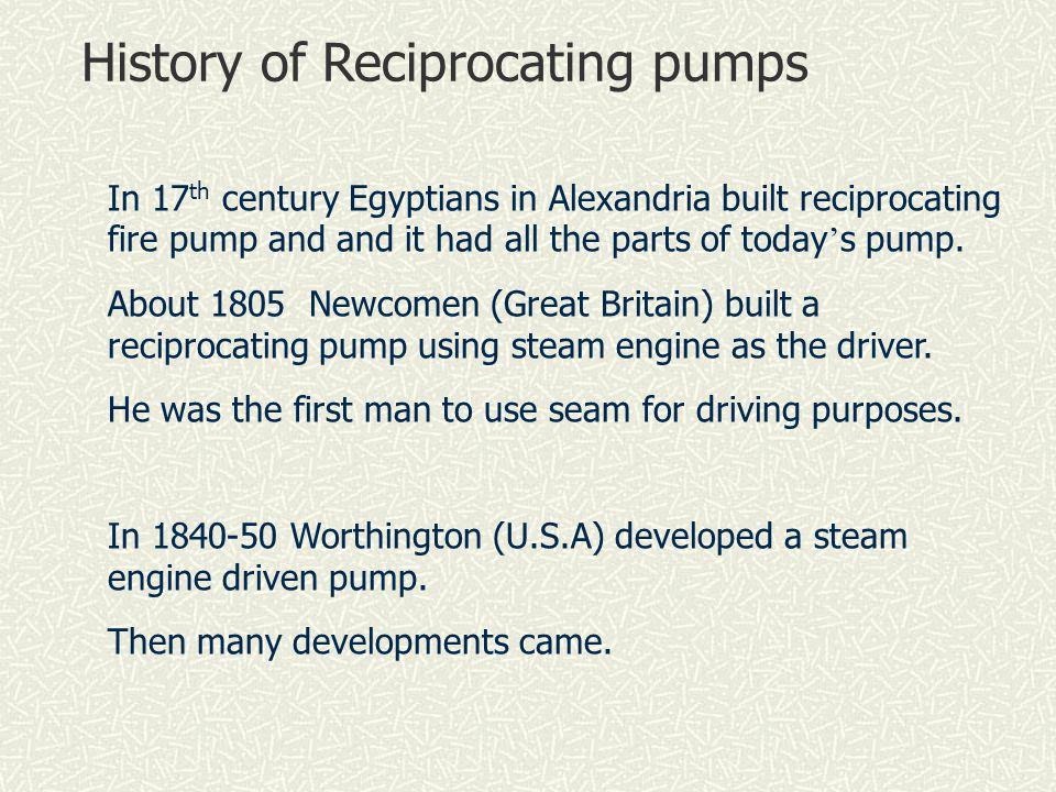 History of Reciprocating pumps