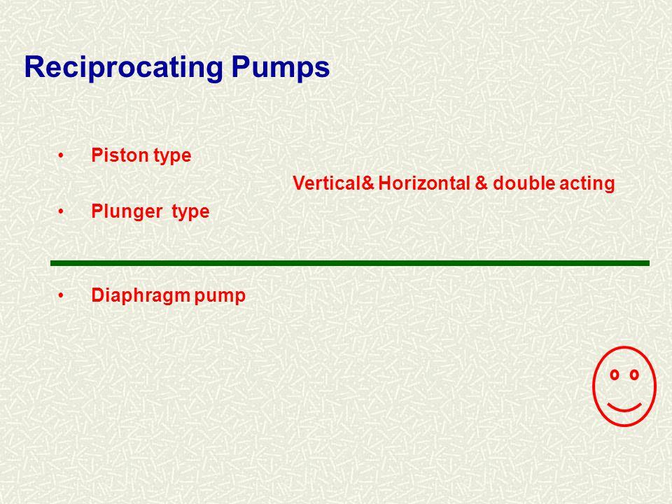 Reciprocating Pumps Piston type Vertical& Horizontal & double acting
