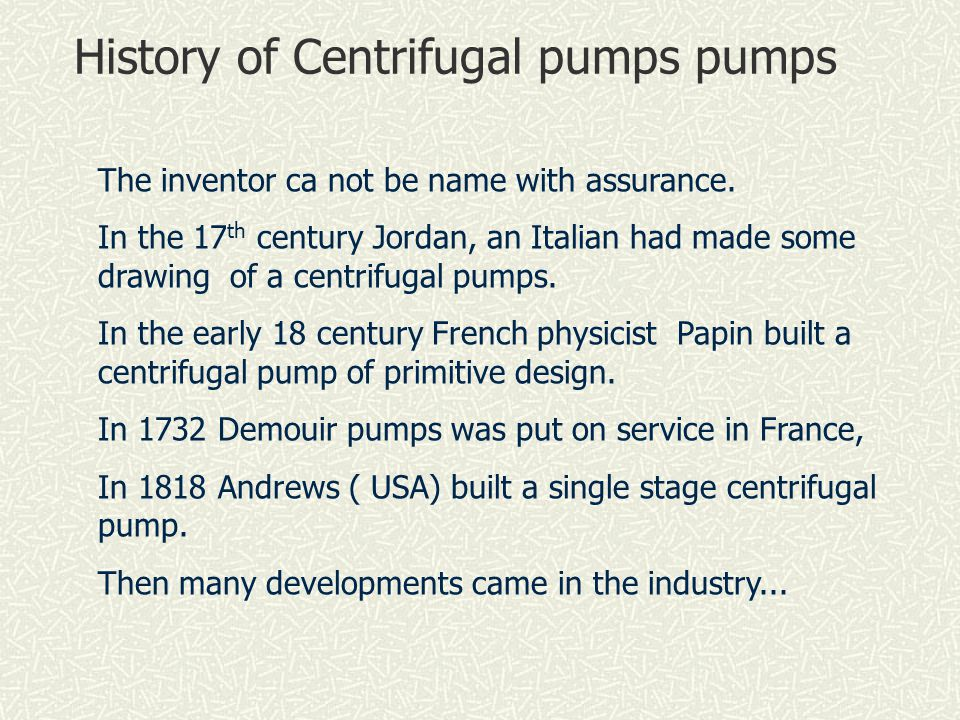 History of Centrifugal pumps pumps